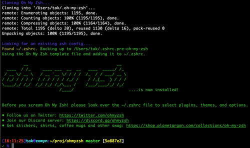 Installing my fork of Oh My Zsh